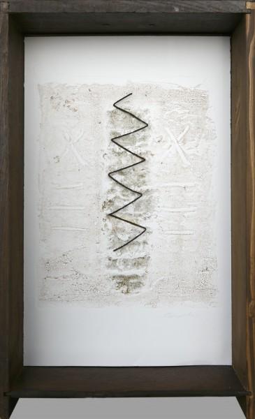 Senza titolo, 2016, grafica con ferro combusto inserita in cassetto di legno, 25x40