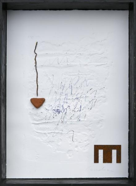 Senza titolo, 2016, grafica e ferro combusto inseriti in scatola di legno, 30x40