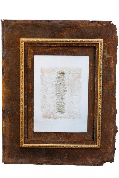 Scritture, 93x73, ferro, grafica, cornice, 2019