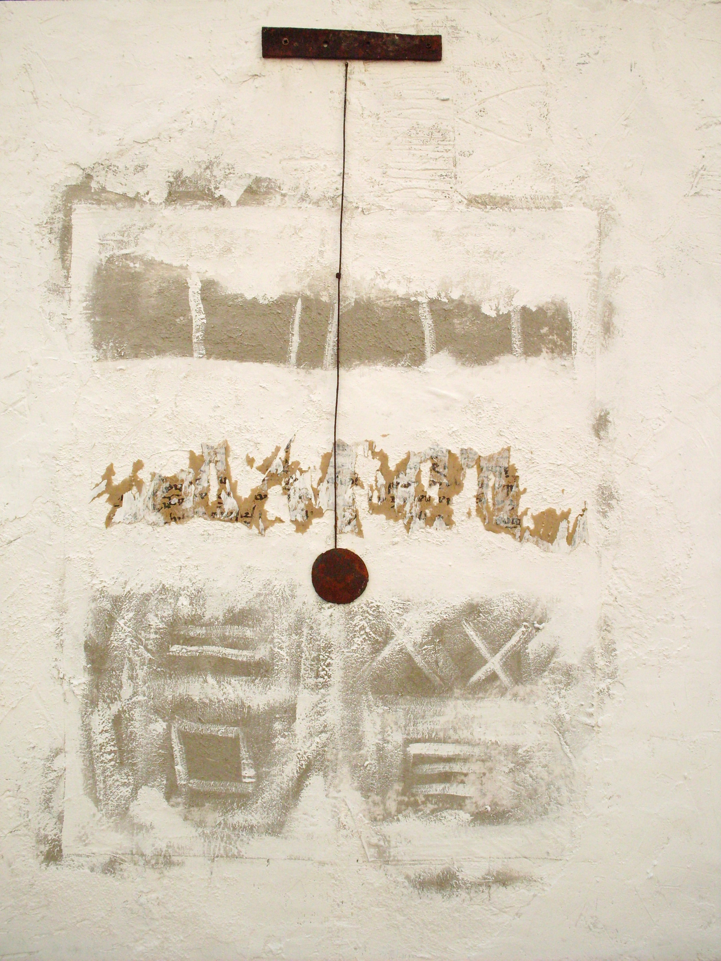 Archeologia della memoria, tecnica mista su tavola e ferro, 120x100, 2013