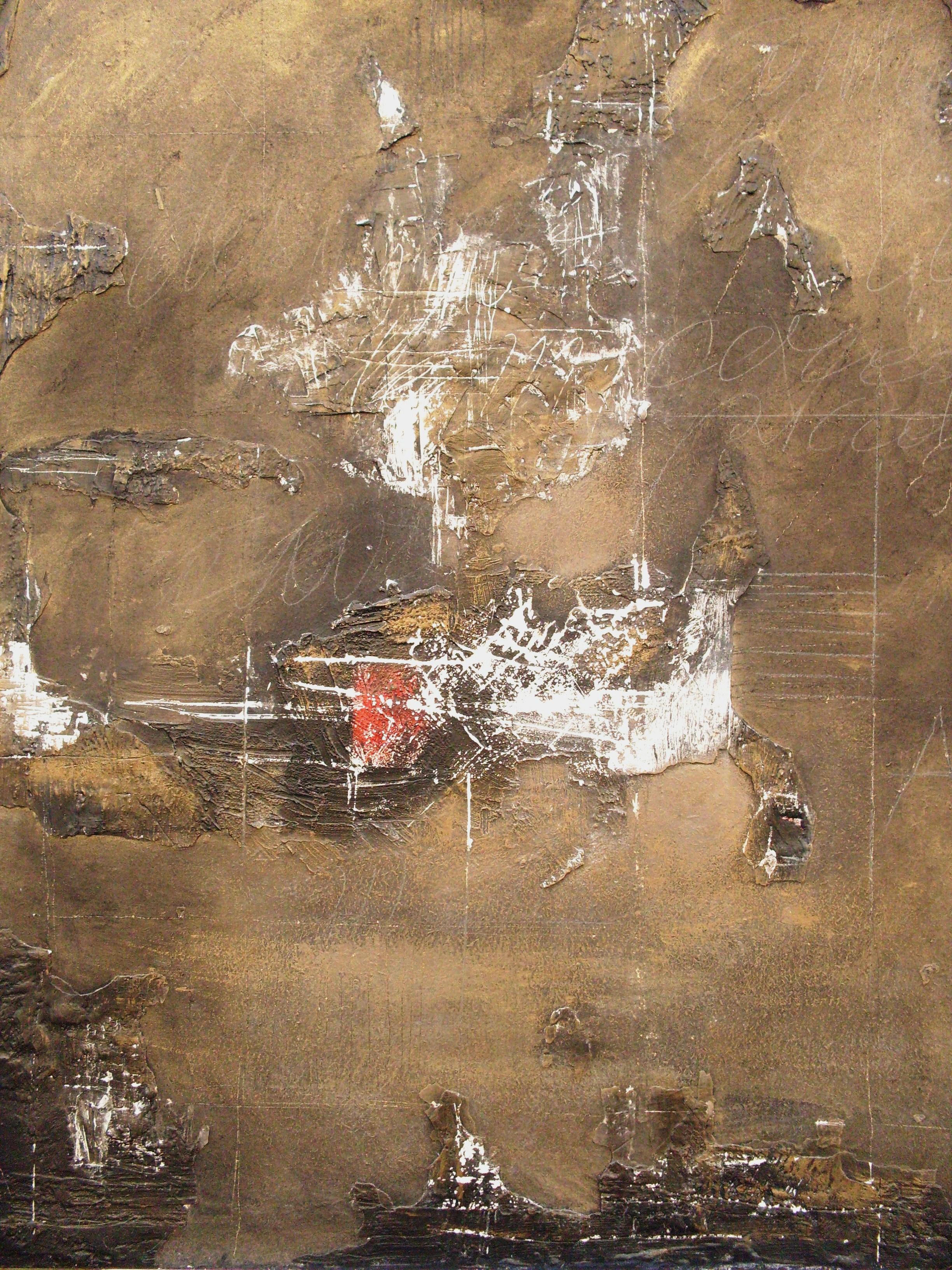 Riflessioni, tecnica mista su tavola, 120x100, 2000