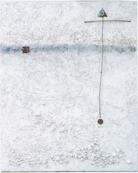 Enigma, 2001, tecnica mista su legno, 80x100