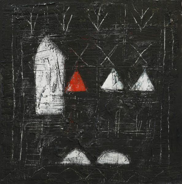 Incontri con la trascendenza, 70x70, tecnica mista su tavola, 2015