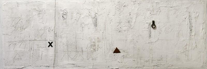 Affioramenti, 2013, tecnica mista e ferro su tavola, 150x50