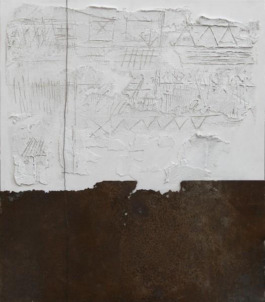 Intrusioni verticali, 2015, tecnica mista, ferro combusto su tavola, 70x80