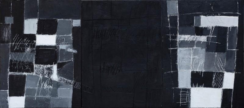 Percorsi, 80x185, trittico, tecnica mista su tavola, 2020