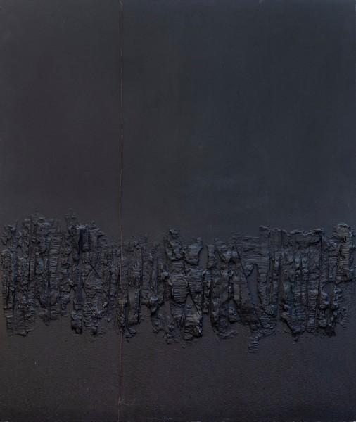 Il silenzio dialoga con la materia, 120x100, tecnica mista su tavola, 2014