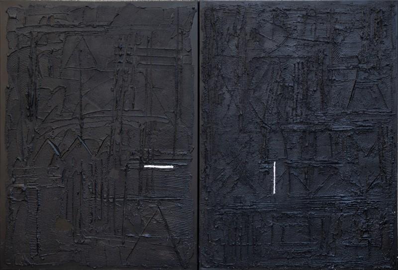 Aperture, 70x100, dittico, tecnica mista su tavola, 2018