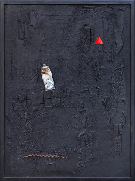 Viaggio nel tempo, 64x48, ferro, legno, tubo di colore, su tavola, 2020