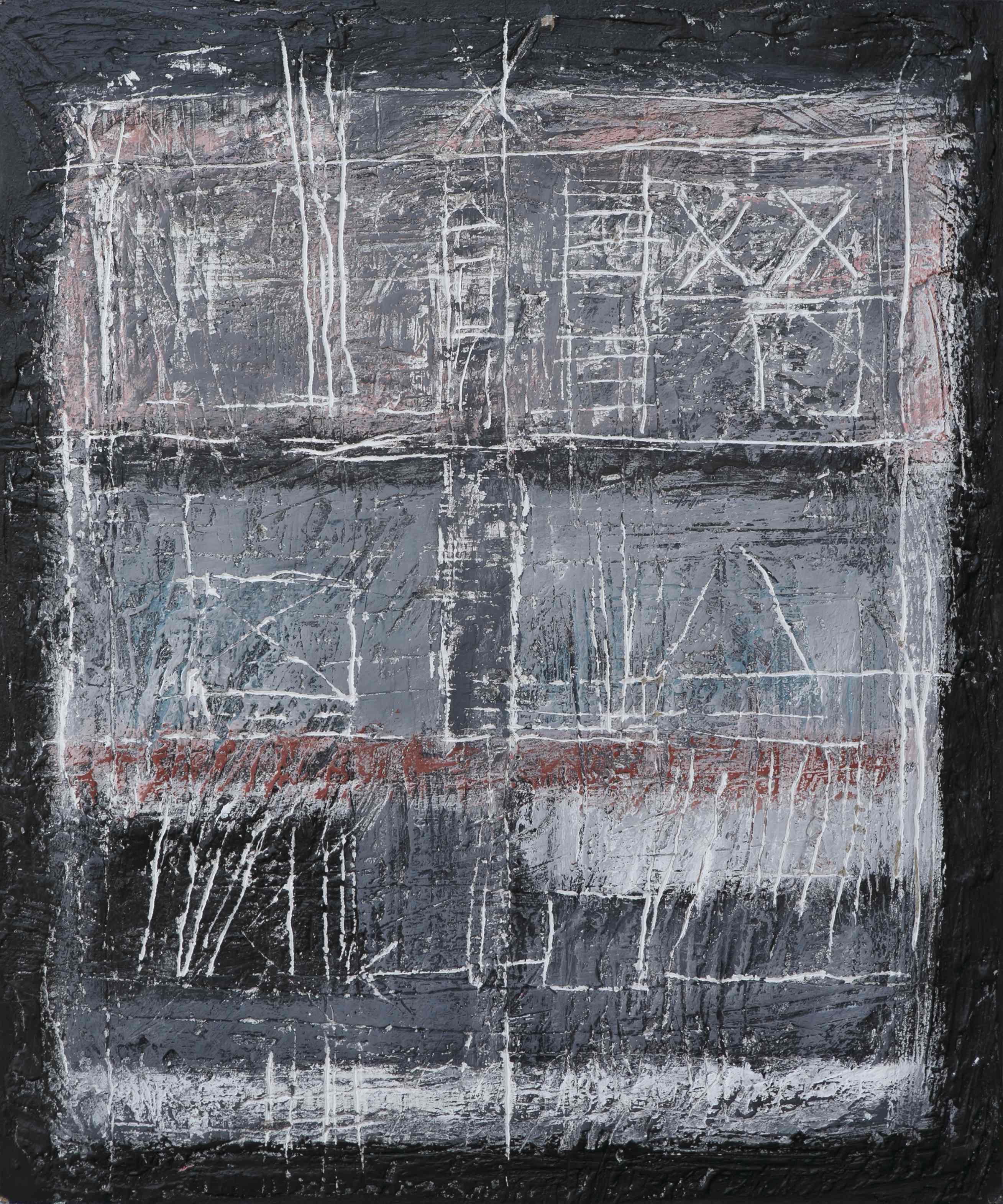 Graffiti 1, tecnica mista su tavola, 60x50, 2005