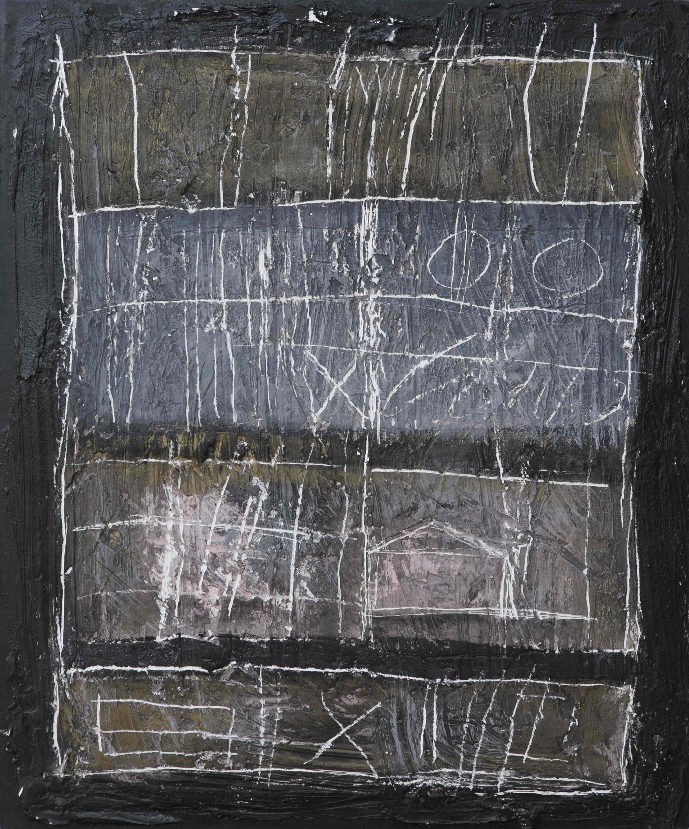 Graffiti 2, tecnica mista su tavola, 60x50, 2004