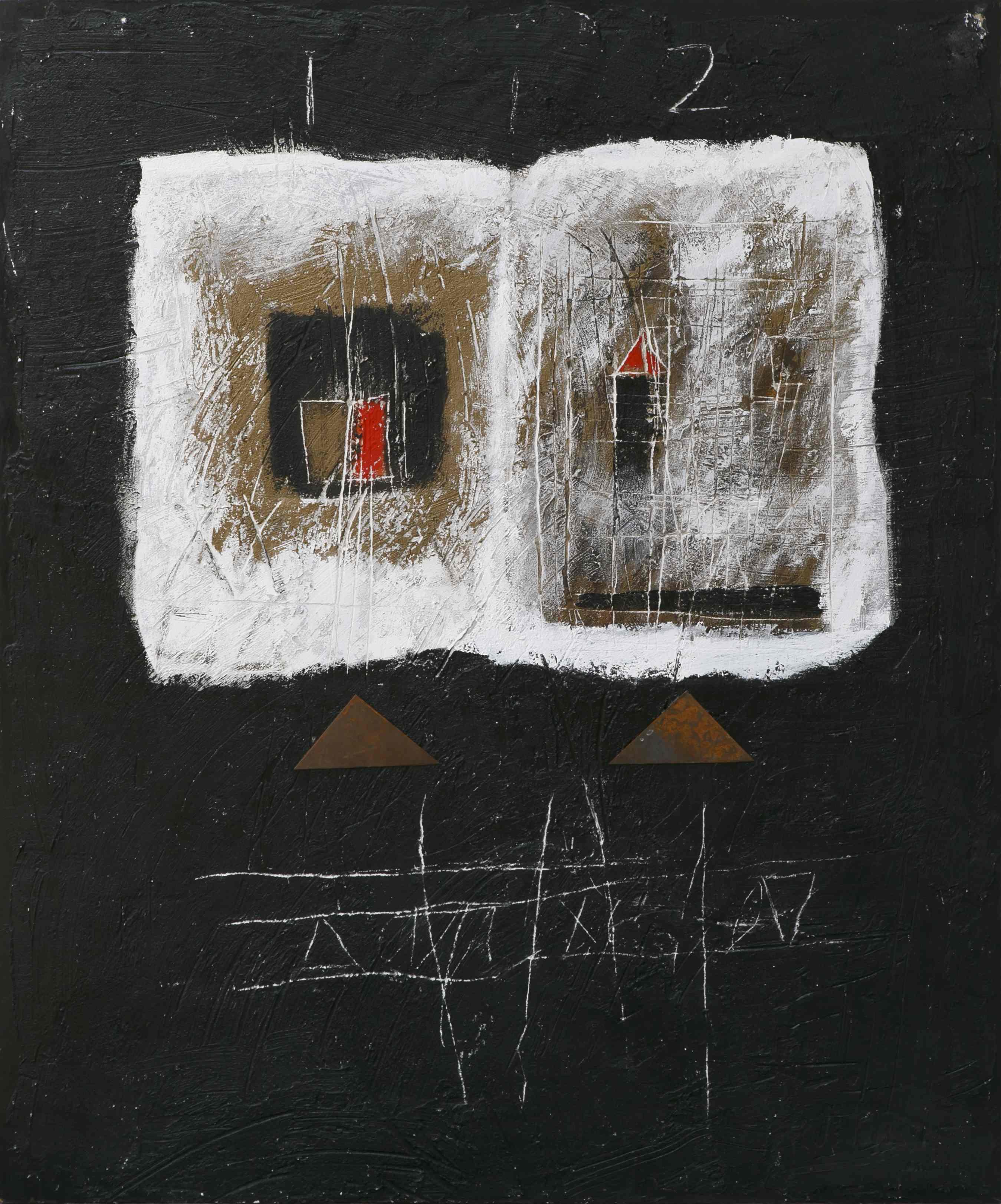 Pagina della memoria, tecnica mista con ferro su tavola, 120x100, 2011