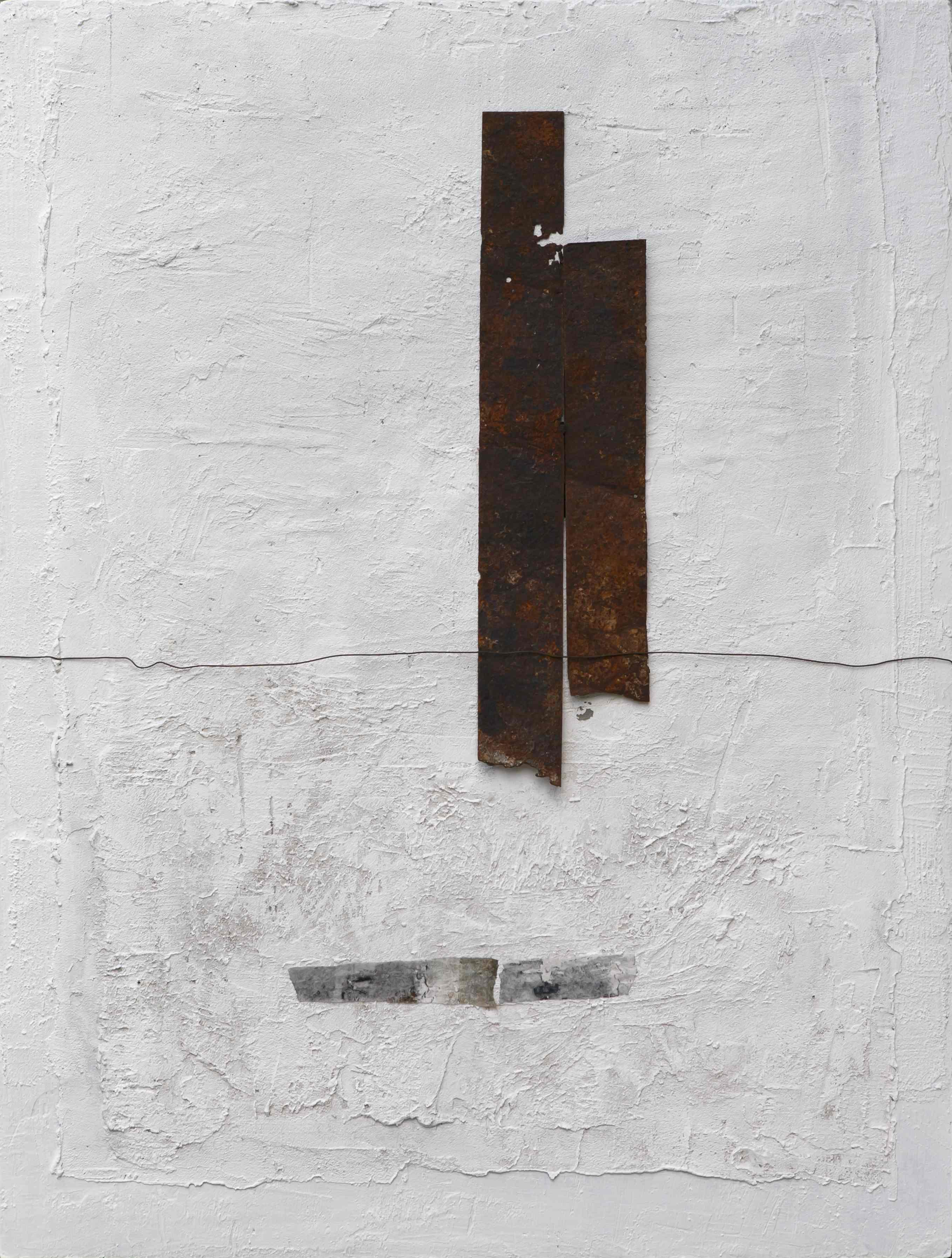Profilo del tempo, tecnica mista con ferro combusto su tavola, 120x100, 2010