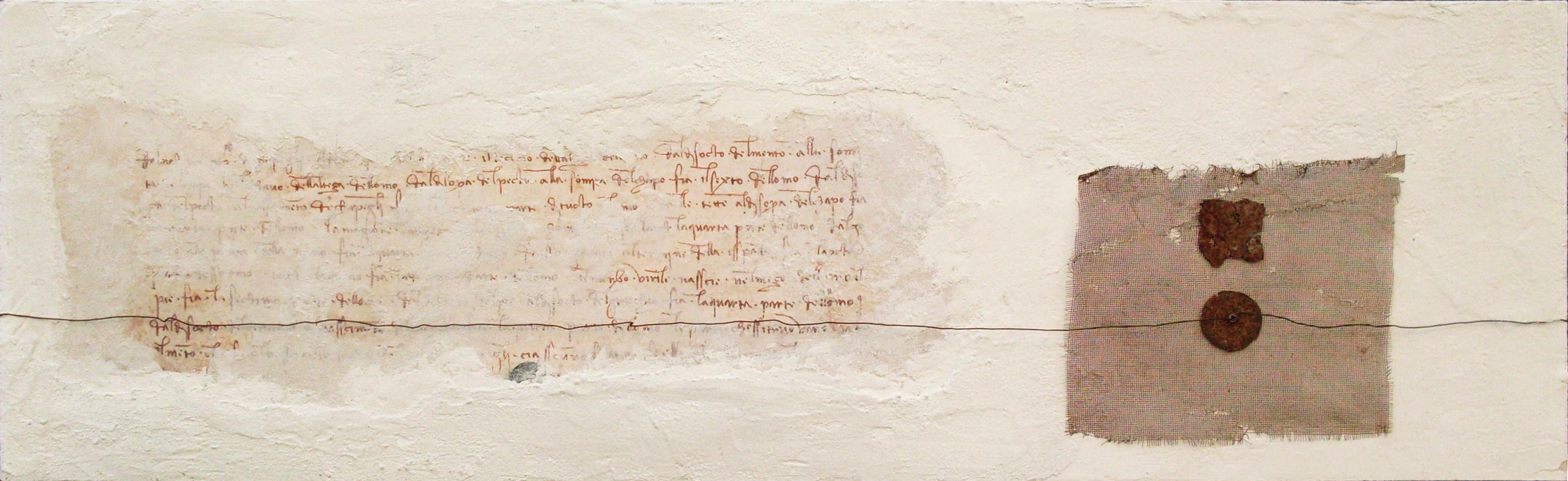 Dialoghi, tecnica mista con ferro e carta su tavola, 115x36, 2011