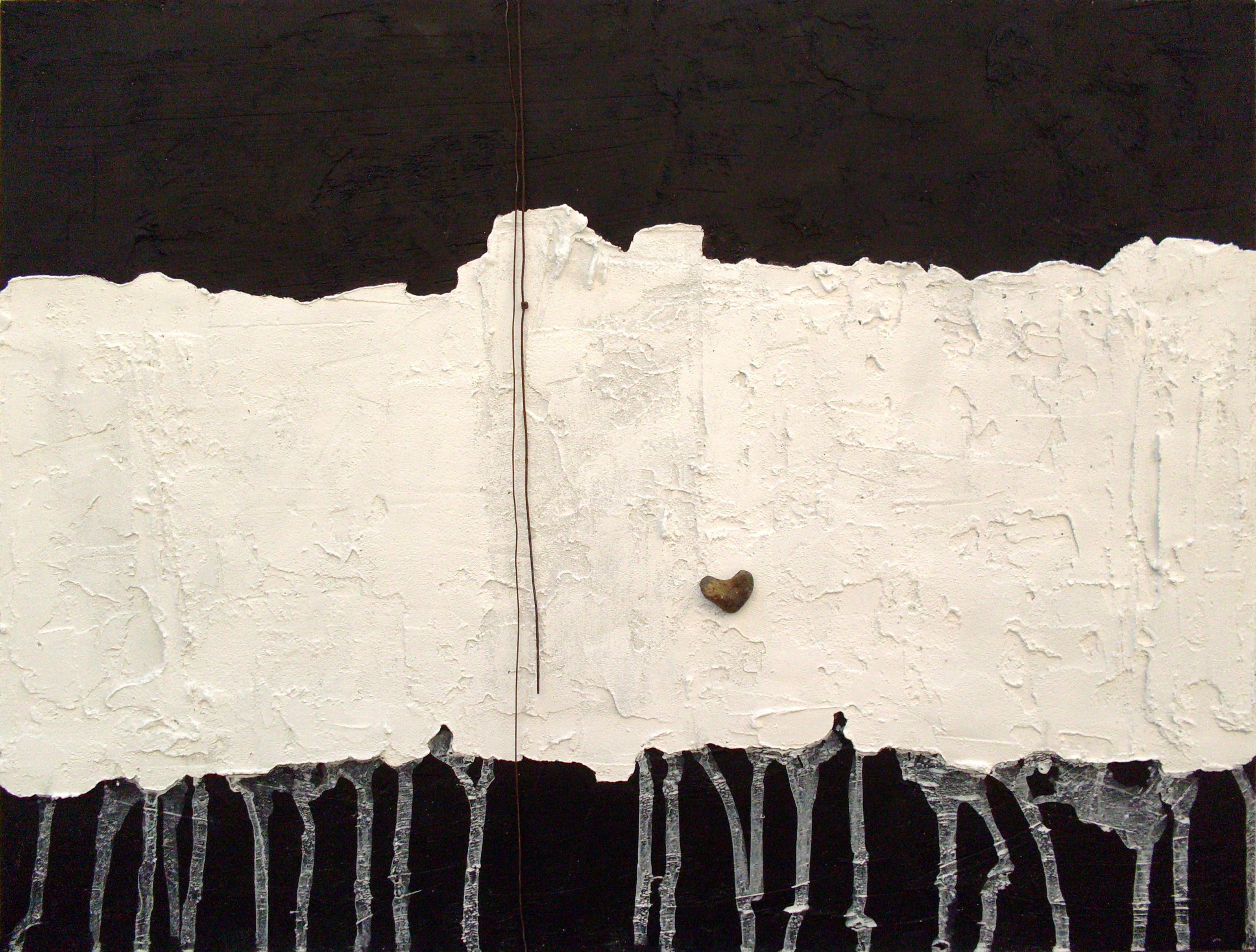 Il silenzio dei dialoghi, tecnica mista su tavola con ferro e sasso, 98x80, 2012
