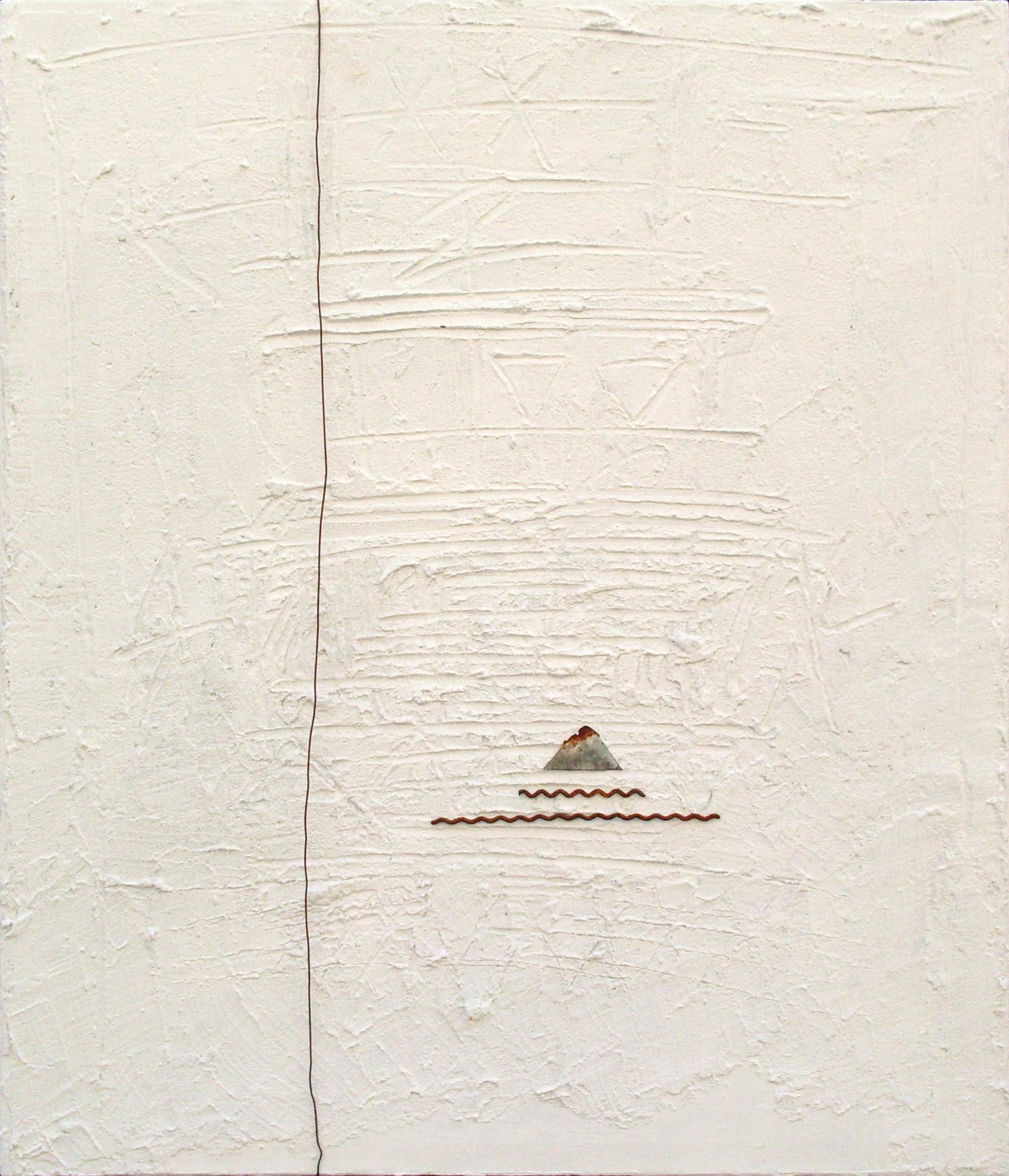 Impronte, tecnica mista su tavola e ferro, 60x50, 2013