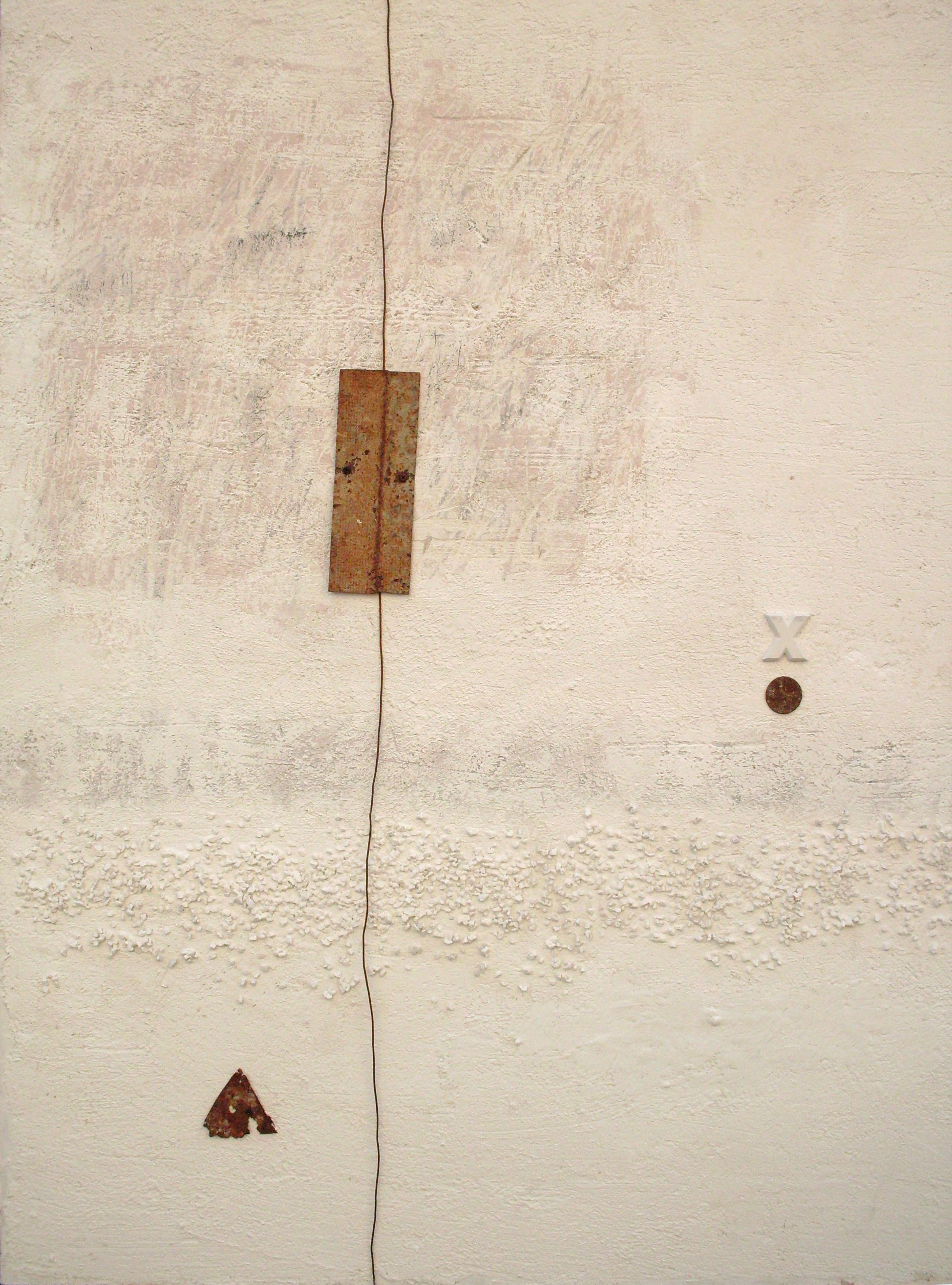 La libertà si tinge di bianco, tecnica mista su tavola e ferro, 100x80, 2008