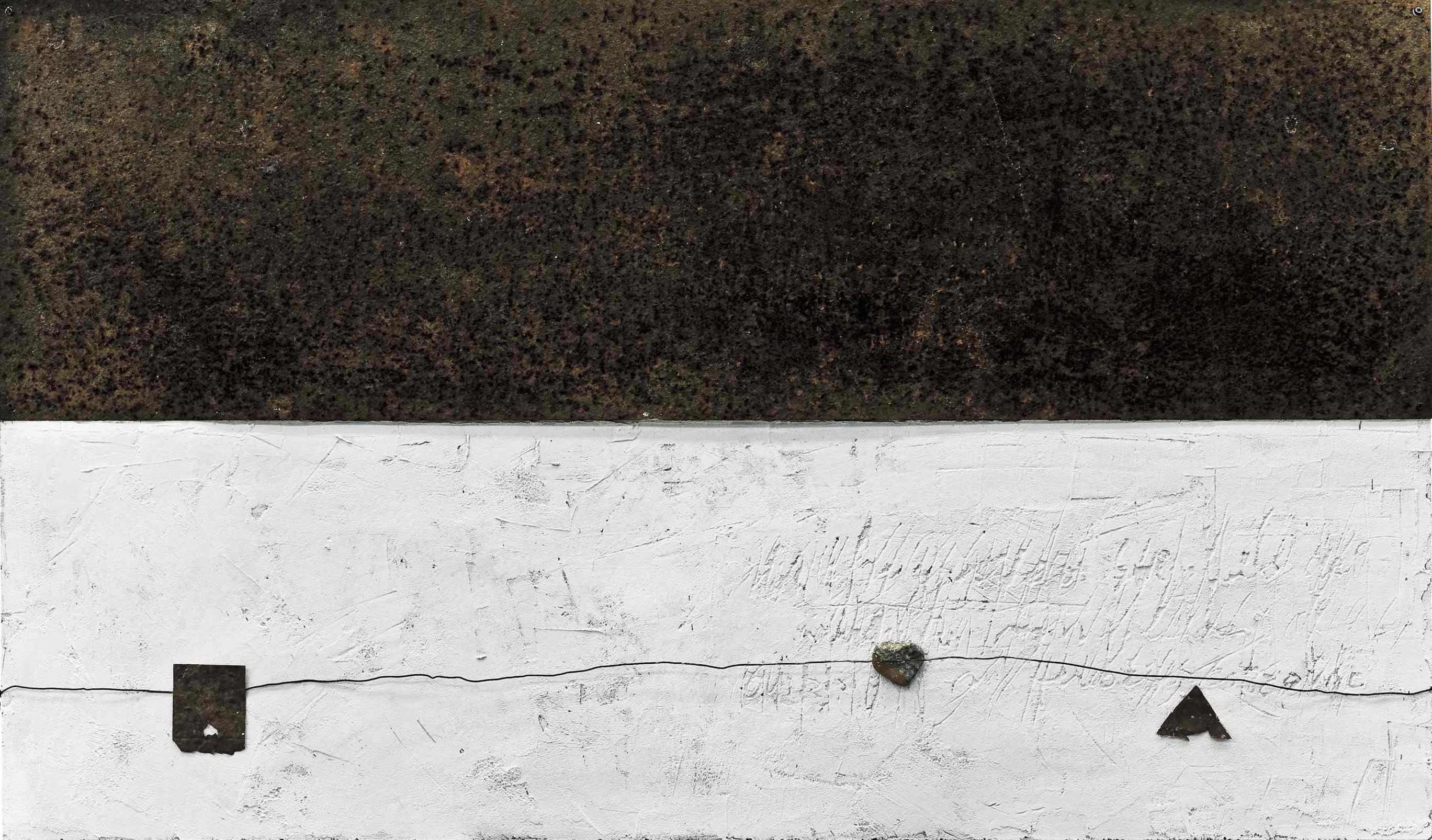 Riflessioni 2, tecnica mista su tavola e ferro, 115x68, 2007