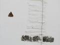 Fuga dalla materia, 60x60, tecnica mista ferro e grafica su tavola, 2015