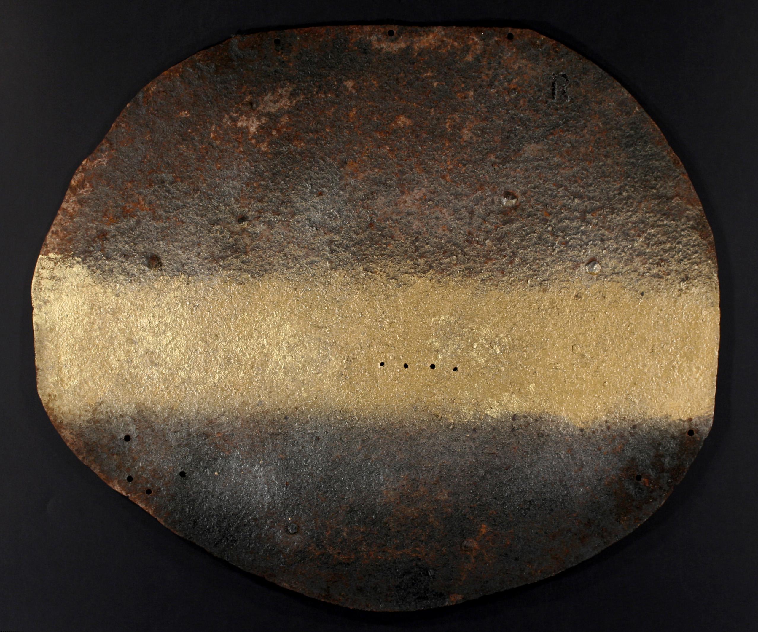 Viaggio senza meta, ferro corroso, smalto su tavola e copertura in plexiglas, 76x76, 2012