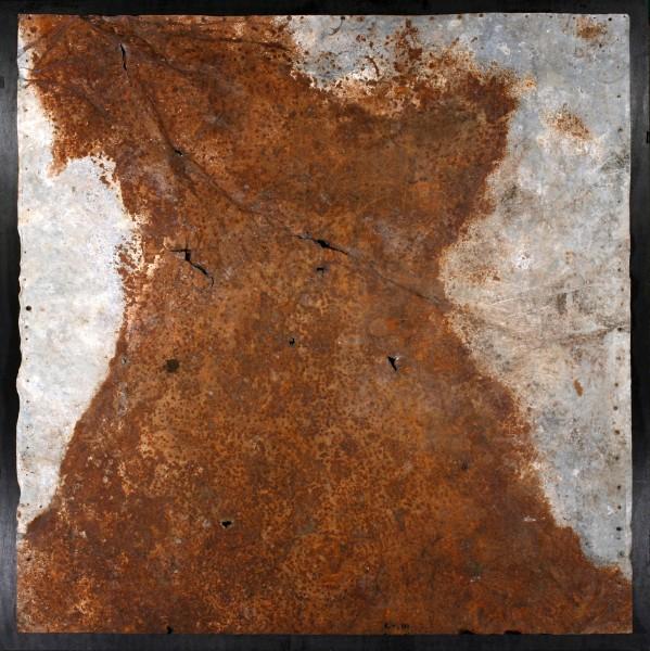 Oltre il visibile 2, 2000, ferro corroso su tavola, 100x120