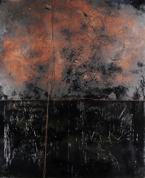 Contaminazioni, 2011, ferro corroso e combusto su tavola, 100x120