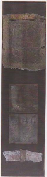 Frammentazioni 1, 2003, tecnica mista su tavola, 37x141