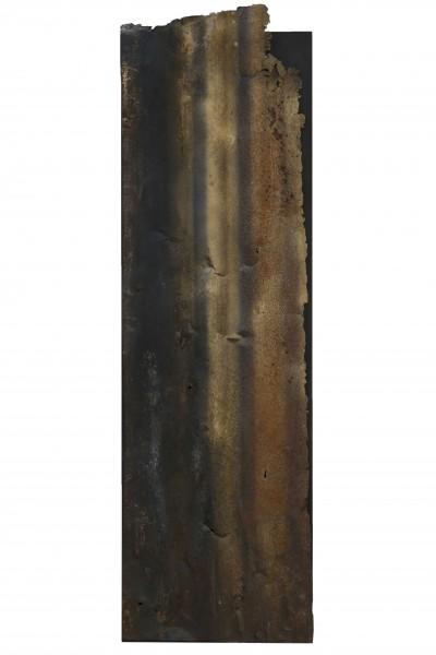 I confini del termpo, 110x33, ferro combusto su tavola, 2017