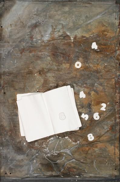 Lettere in libertà, 2012, ferro corroso, libro e gesso su tavola, 70x100