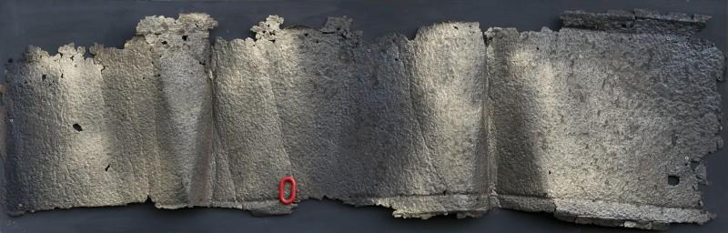 Armonie 2, 2017, ferro combusto e smalto su tavola, 40x125
