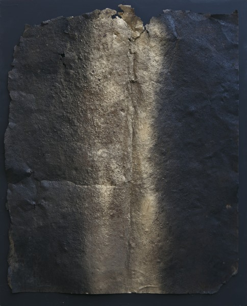 Rinascita 2, 2017, ferro combusto e smalto su tavola, 83x102