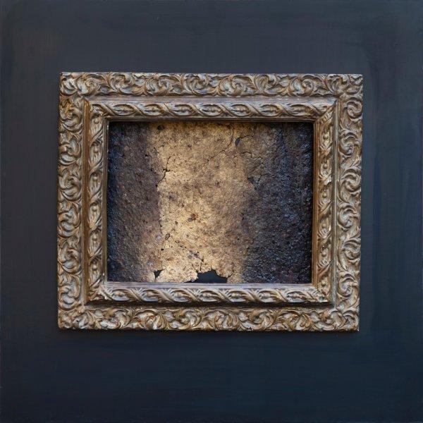 Lacerazioni 60x60, ferro corroso, smalto, cornice su tavola2020