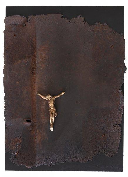 Sofferenza, 80x60, ferro, gesso, su tavola, 2018