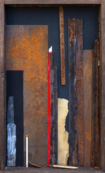 Vecchi ricordi, 95x75, ferro, grafica, matita, spatola, su legno, 2017
