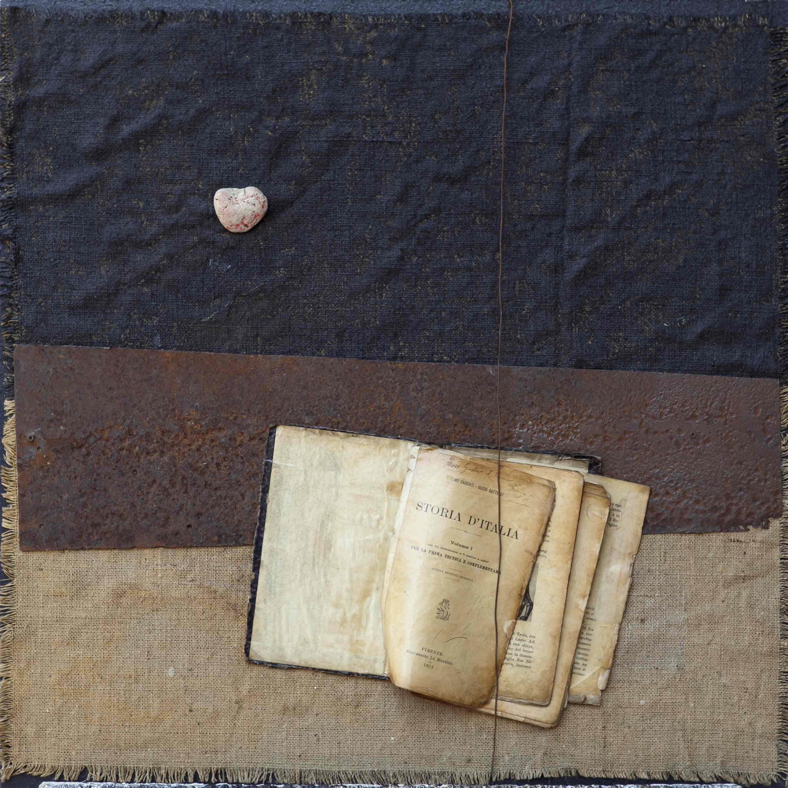 Memorie, ferro corroso, juta, libro e sasso su tavola, 70x70, 2013