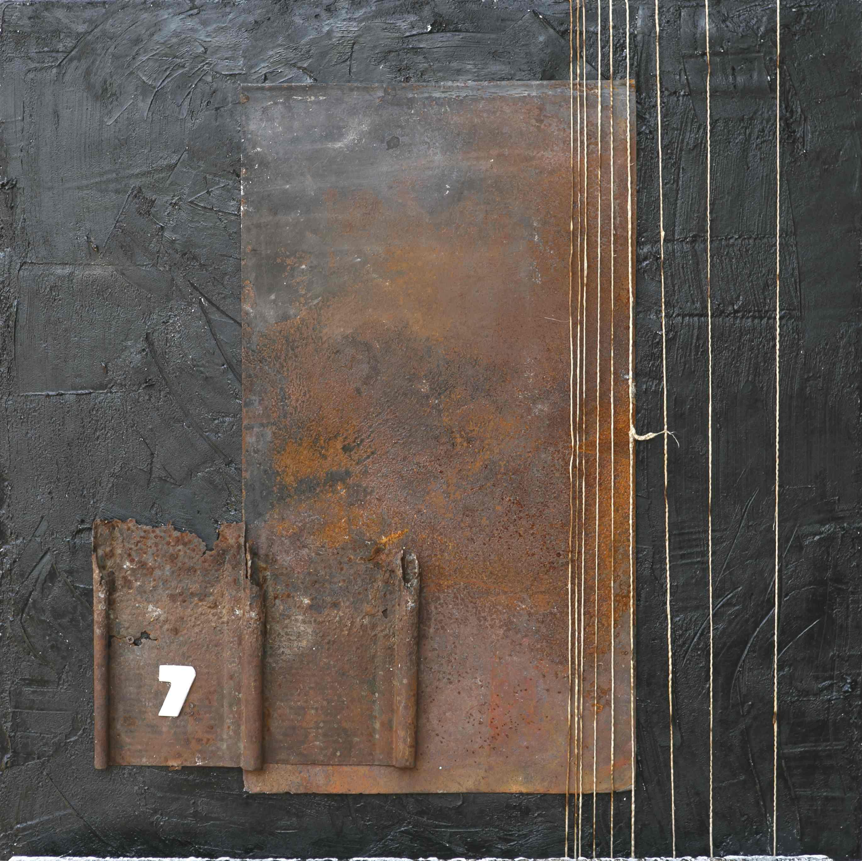 Viaggio senza meta, tecnica mista ferro corroso, spago su tavola, 70x70, 2014