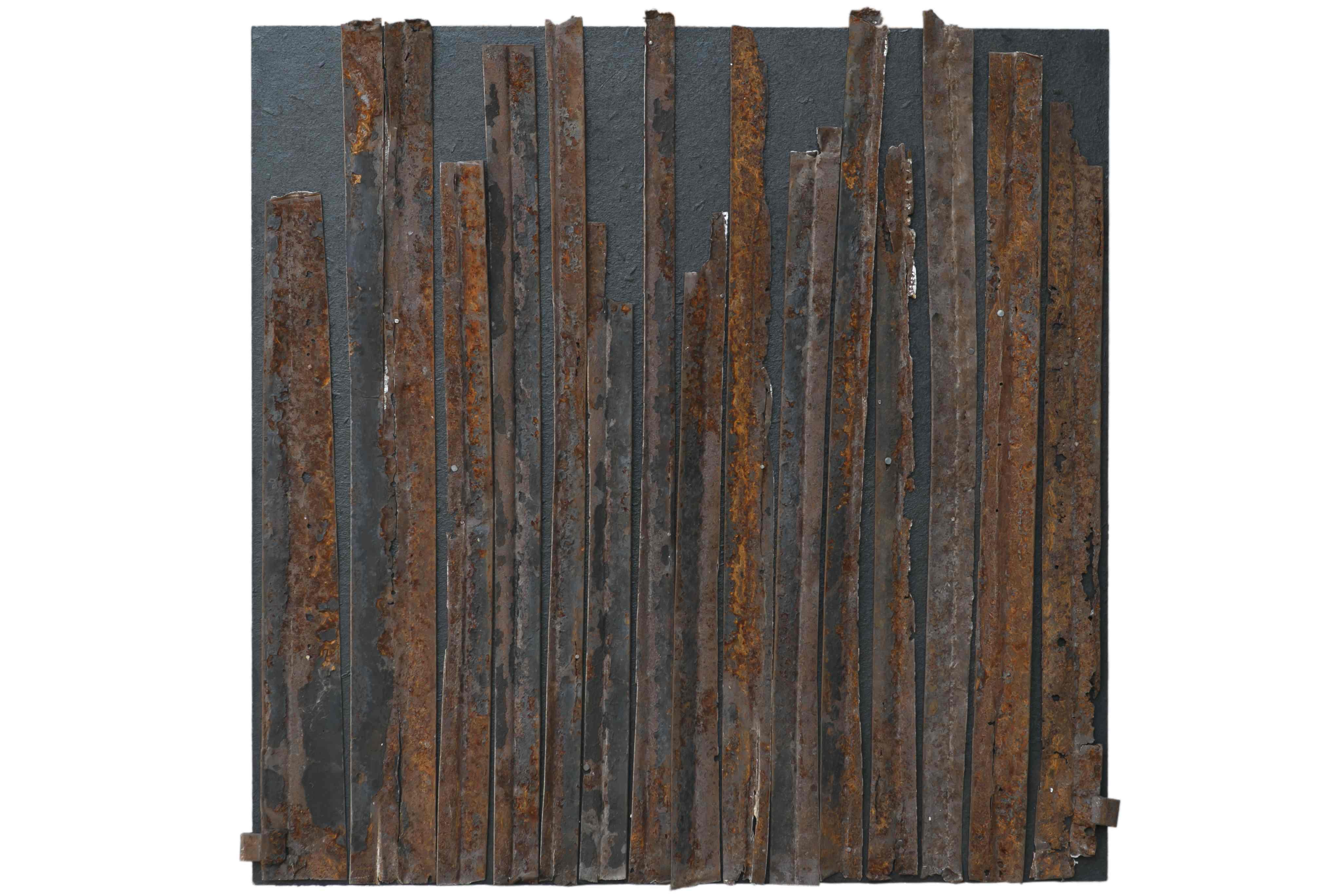 Verso l'infinito, ferro corroso su tavola, 70x70, 2006