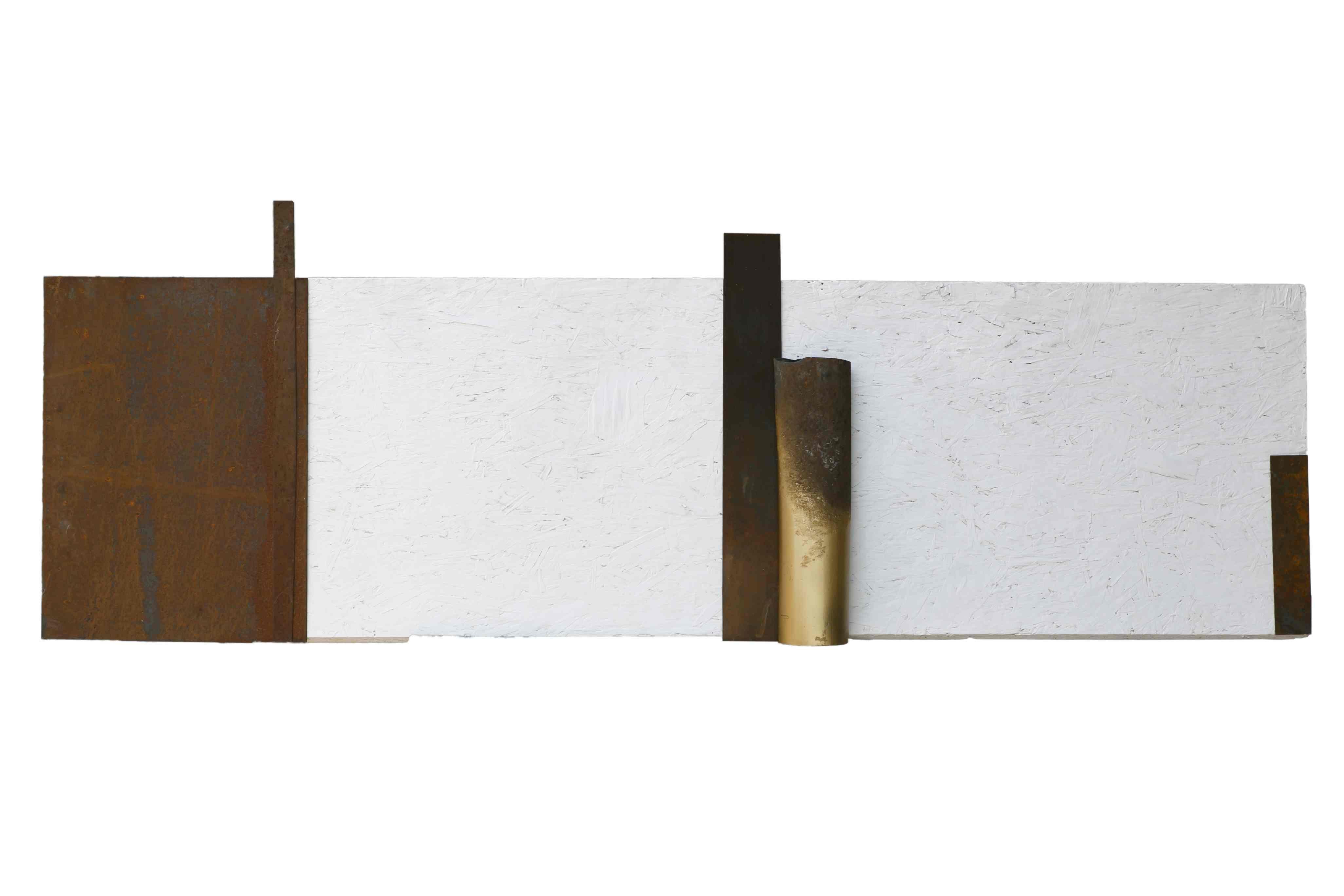 Nel silenzio, tecnica mista e ferro corroso su tavola, 177x50, 2011