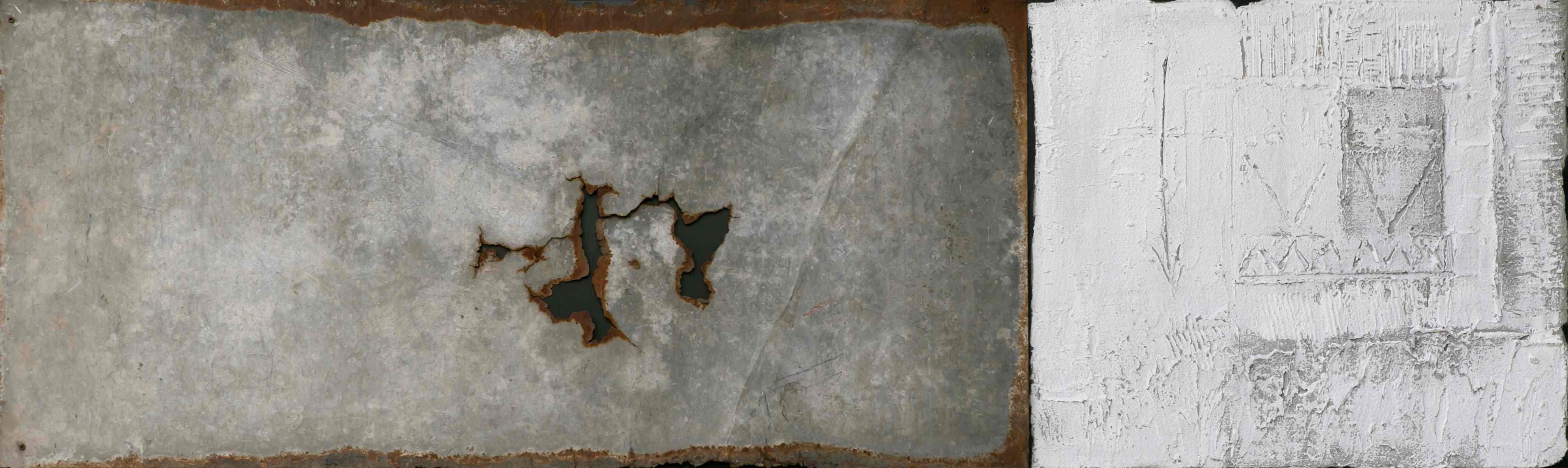 Strutture, tecnica mista e ferro combusto su tavola, 150x45, 2004