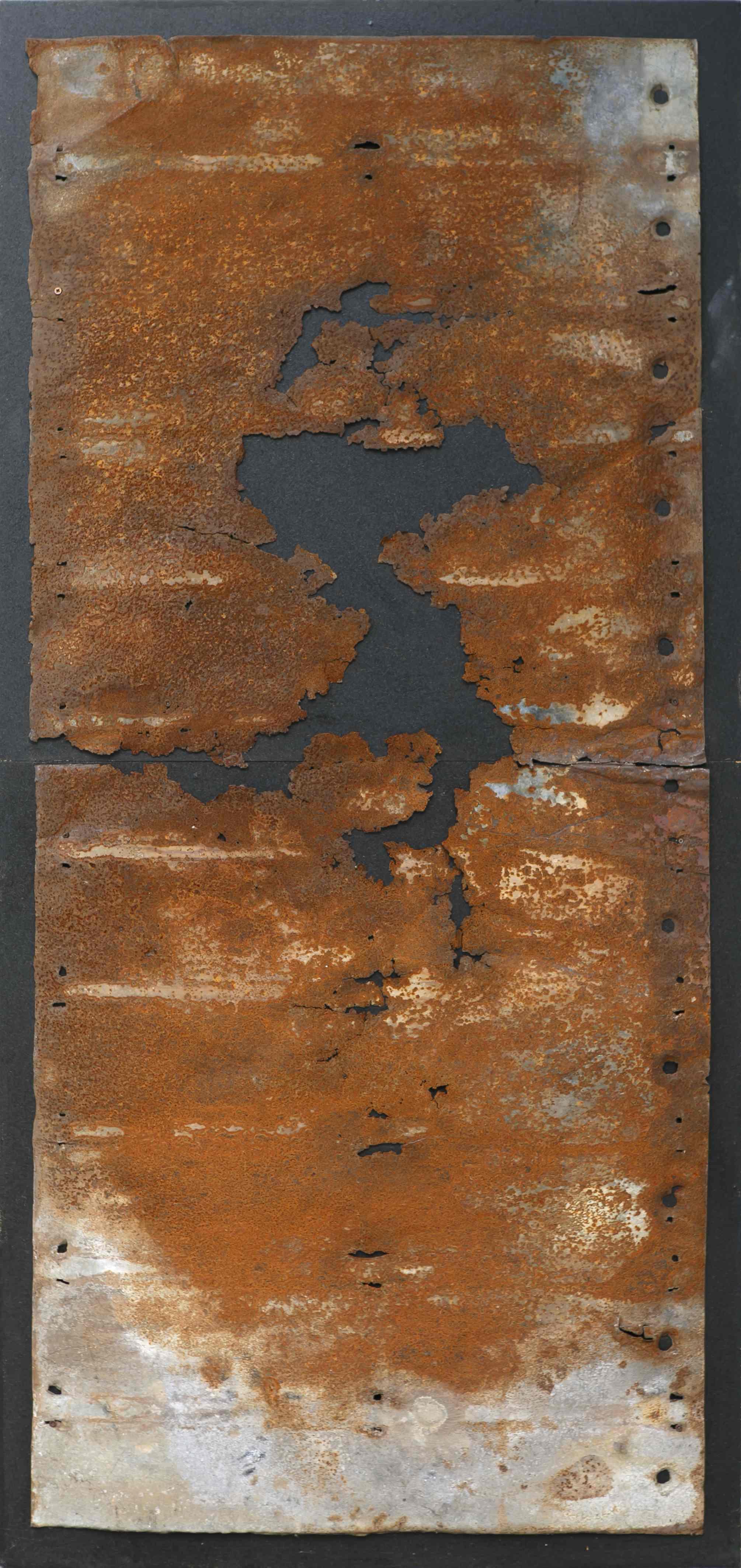 Fratture, ferro combusto su tavola, 164x80, 2000