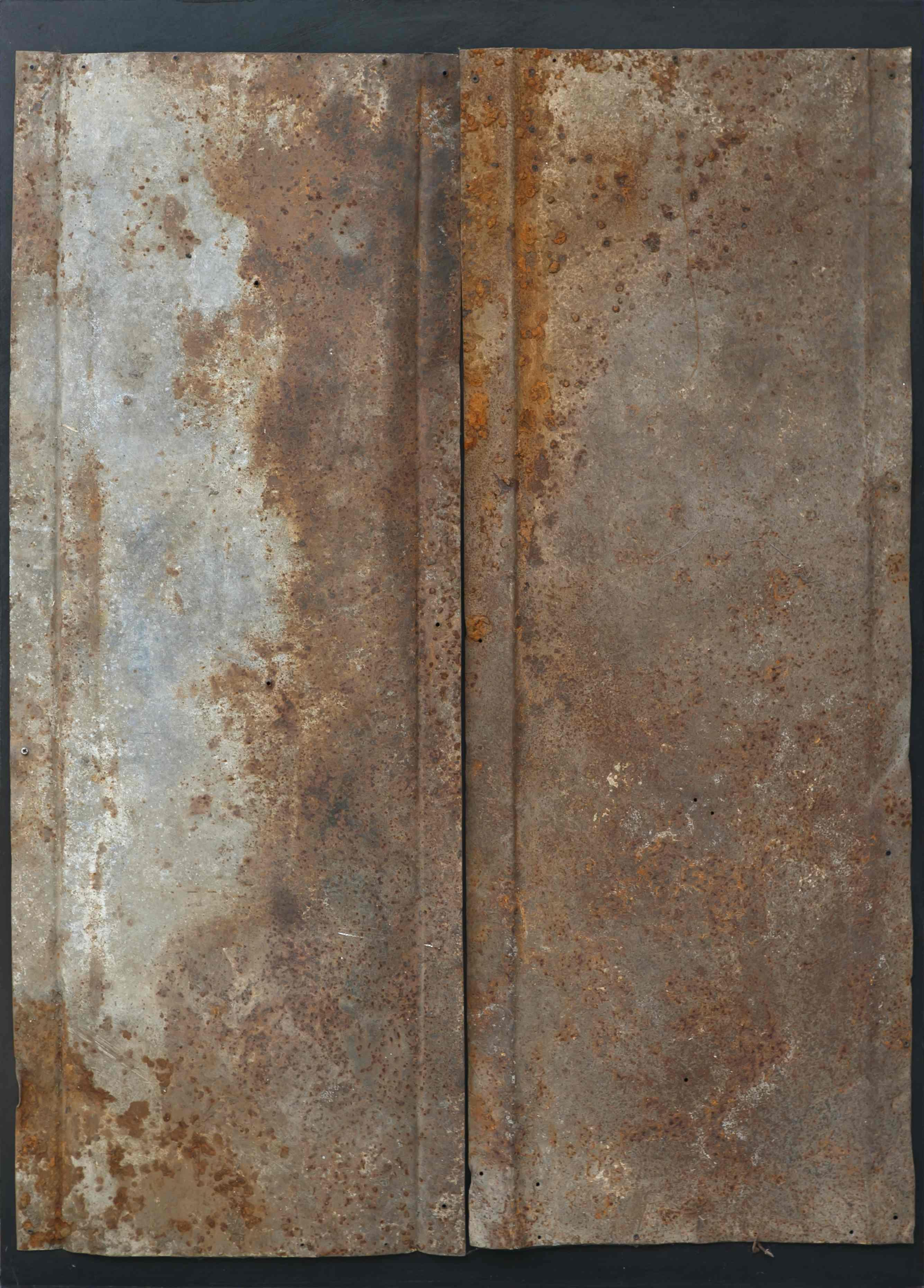 Dualità, ferro corroso su tavola, 107x76, 1999