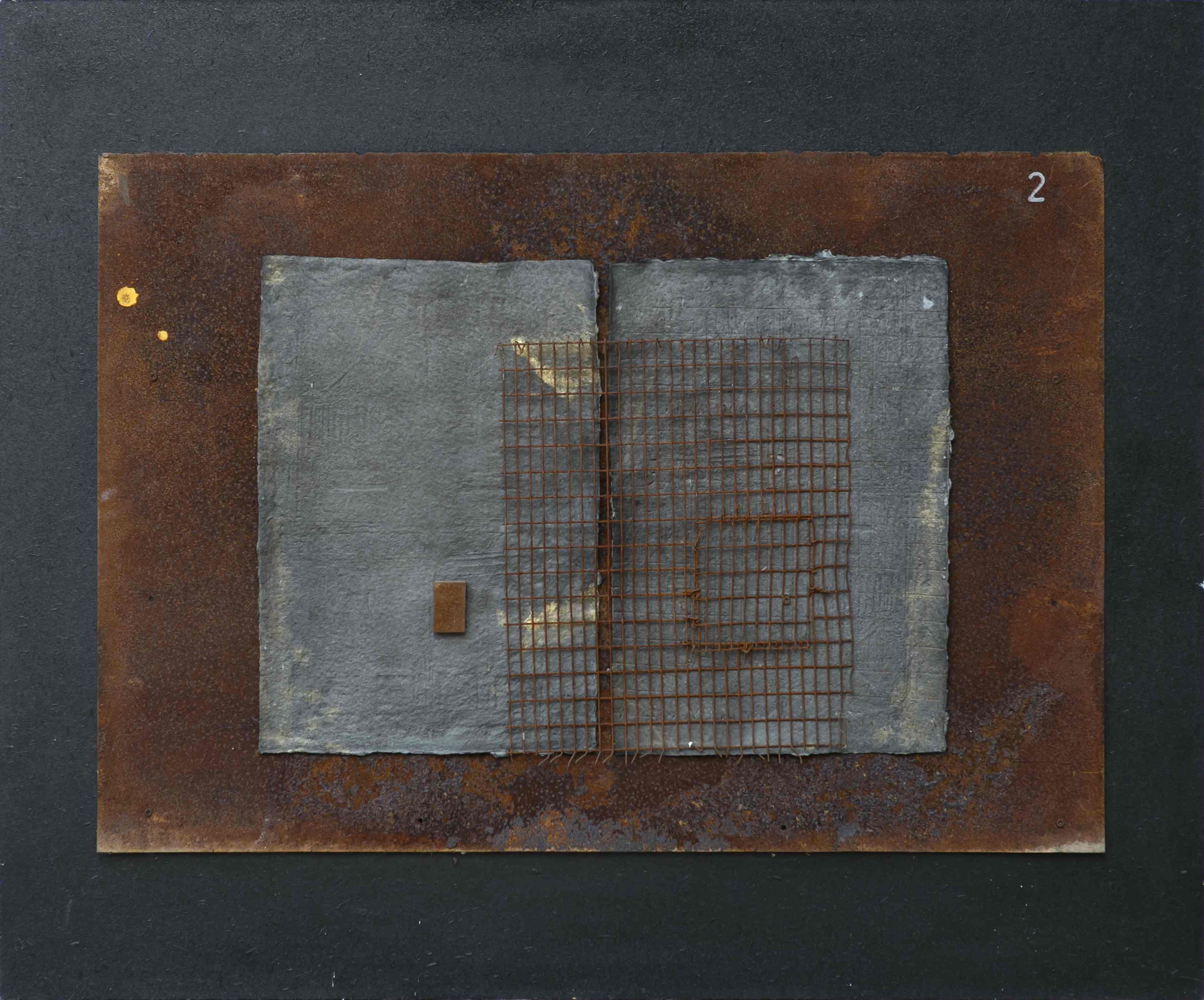 Oltre il segno, ferro corroso, grafica sperimentale su carta a mano su tavola, 120x100, 1998