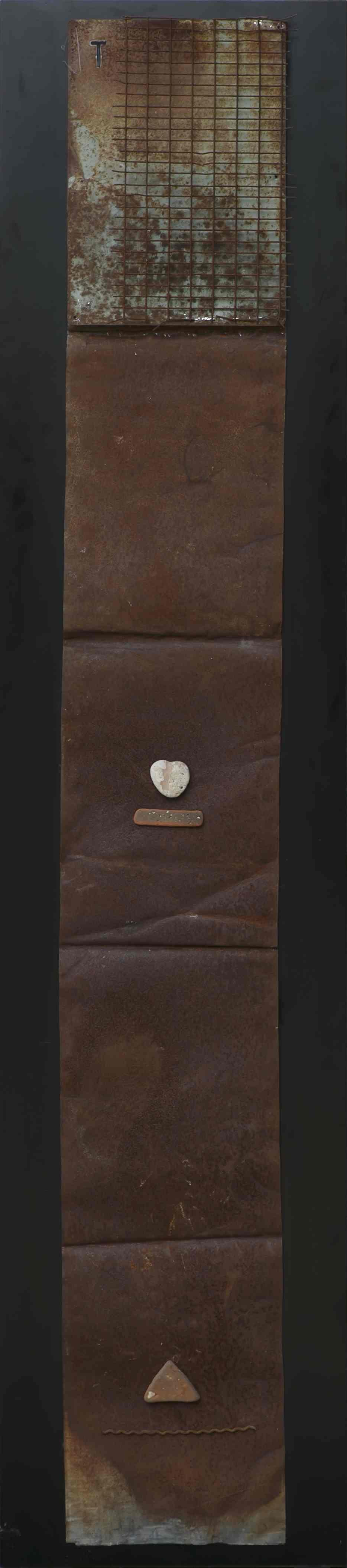 Stele n°4, ferro corroso, sasso su tavola, 175x40, 2000