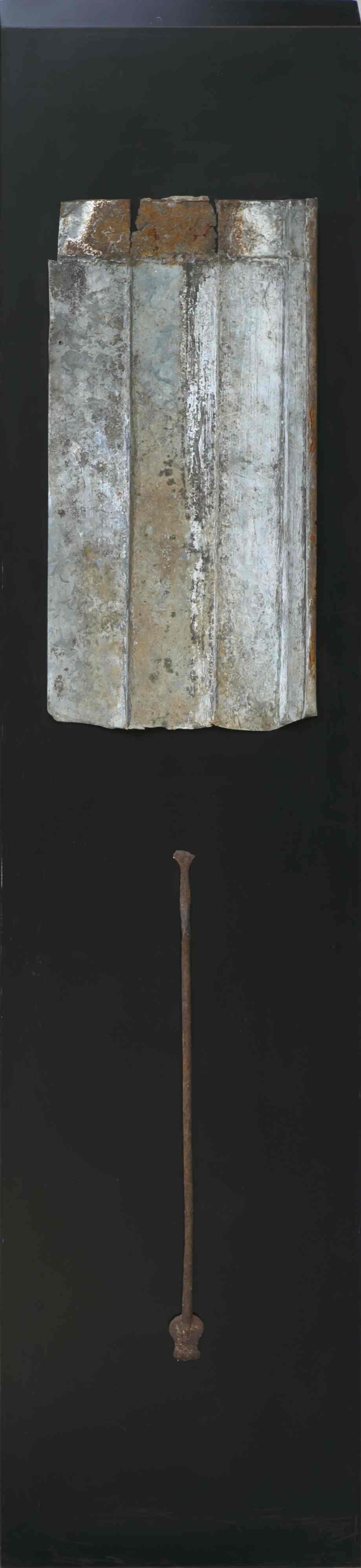 Stele n°1, ferro corroso su tavola , 175x40, 2002