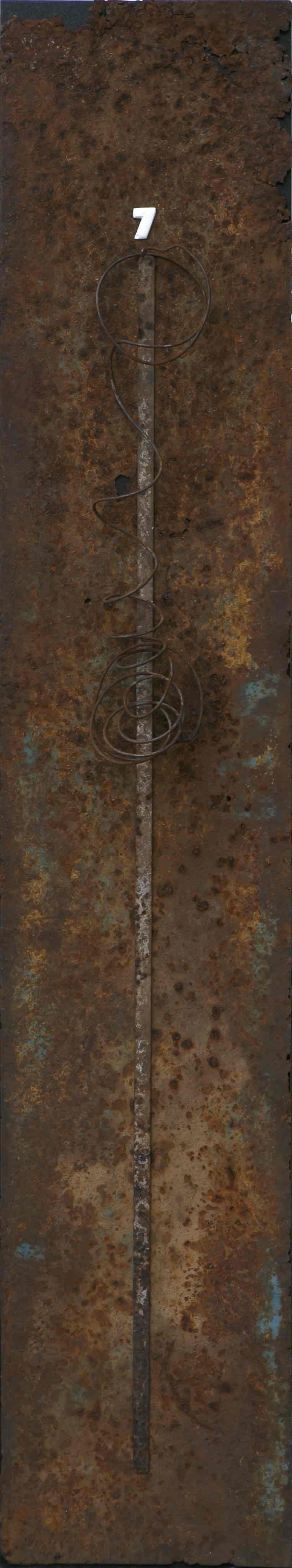 Stele n°5, ferro corroso su tavola, 193x36, 1998