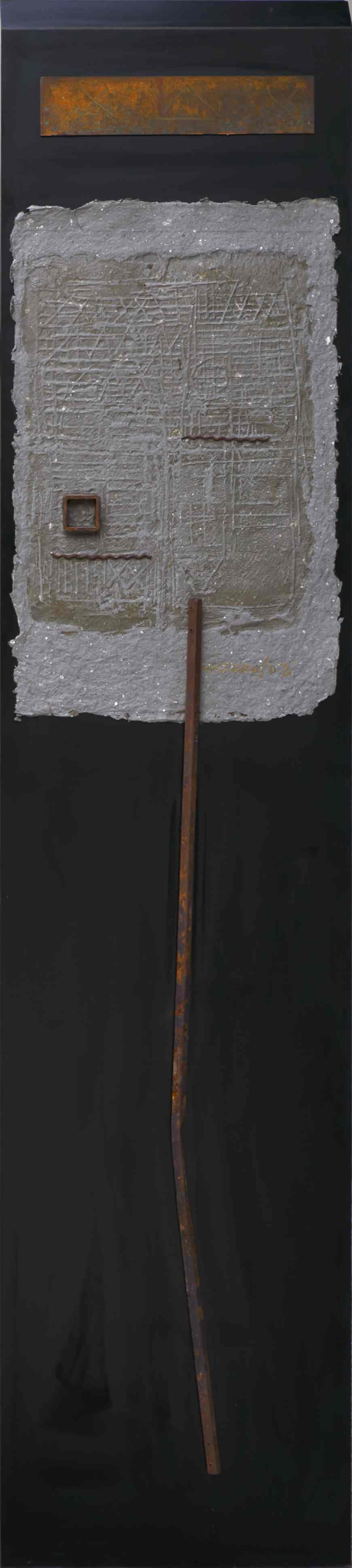 Stele n°2, ferro, grafica sperimentale su carta a mano, su tavola, 175x40, 2002