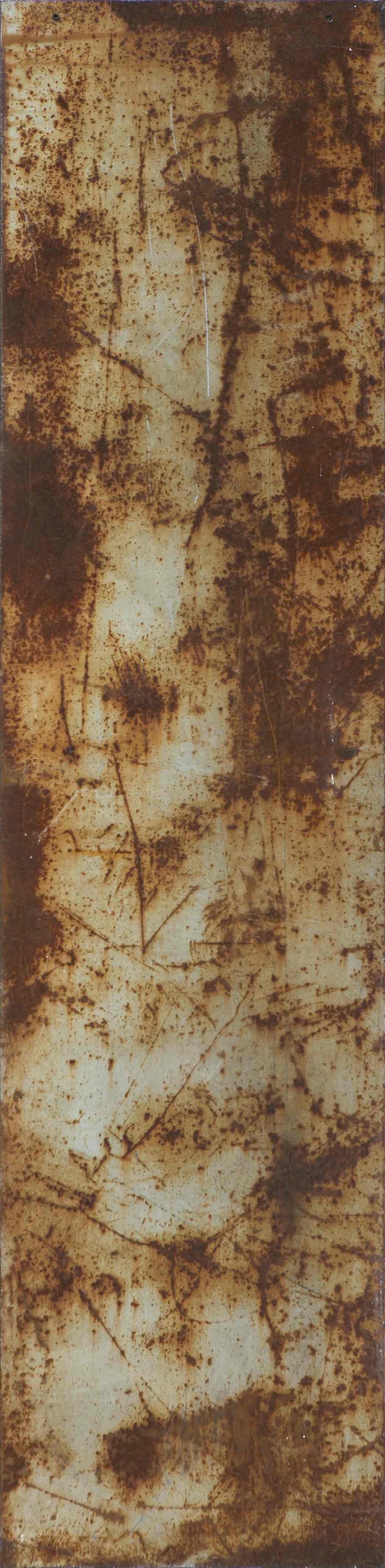 Stele n°6, ferro corroso su tavola, 168x42, 1998