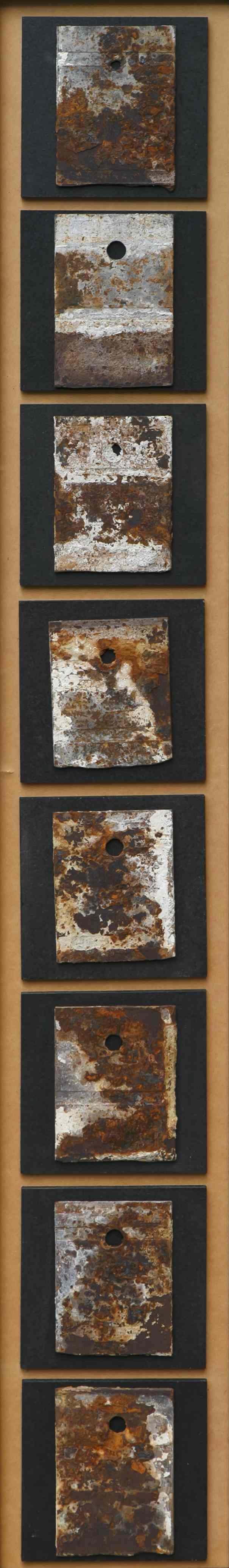 Itinerari dello sguardo, ferro corroso, malta, su tavola, 175x27, 1995