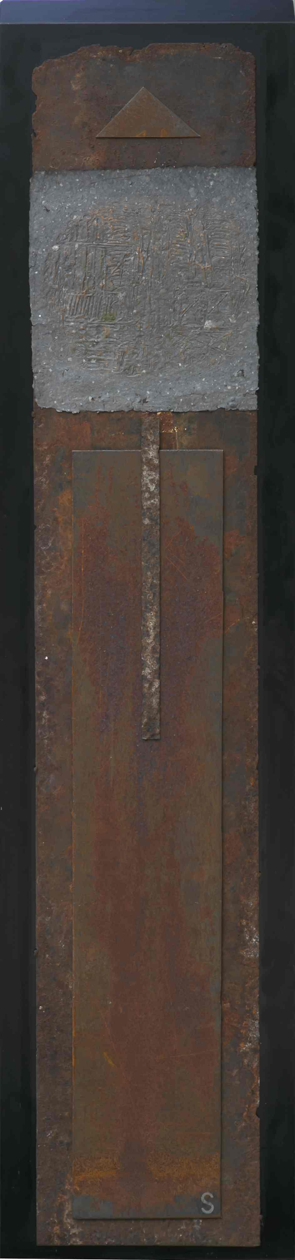 Stele n°7, ferro corroso, grafica di sperimentazione su carta a mano su tavola, 175x40, 1999