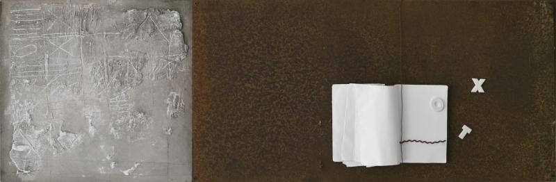 Oltre il visibile 2, tecnica mista ferro corroso, libro, gesso su tavola, 145x47,5, 2013